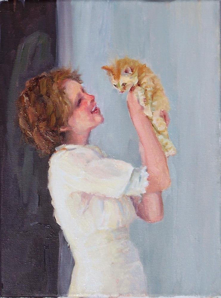 """New Kitten,figure,oil on canvas,10x8price$400"" original fine art by Joy Olney"