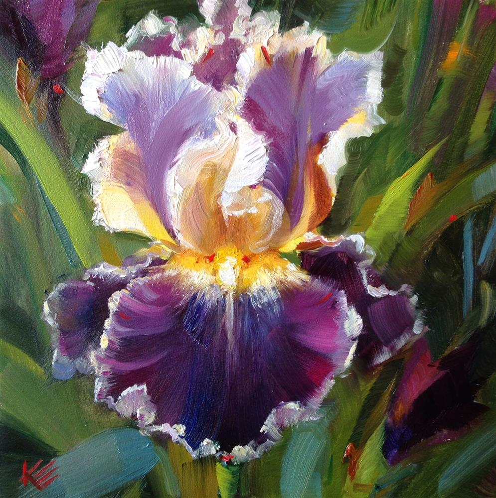 """Purple Bearded Iris"" original fine art by Krista Eaton"