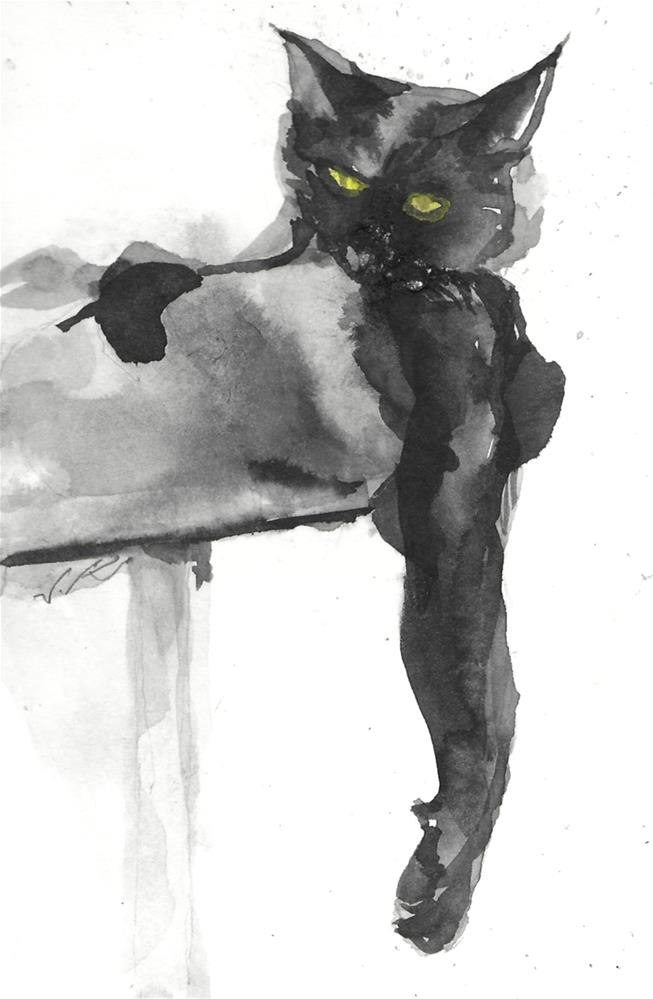 """Daily cat 56"" original fine art by Jean Krueger"