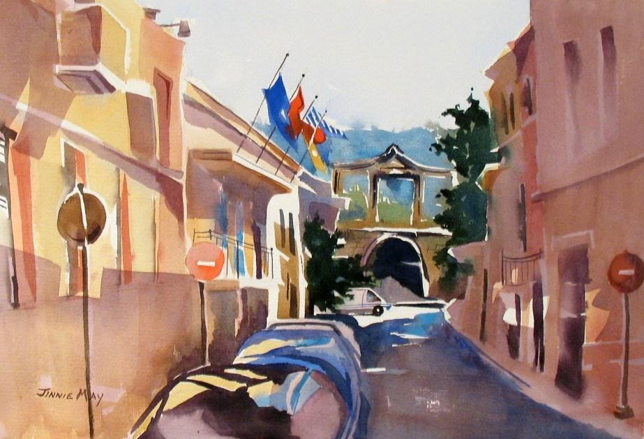 """Themiskokean Gate, Greece"" original fine art by Jinnie May"