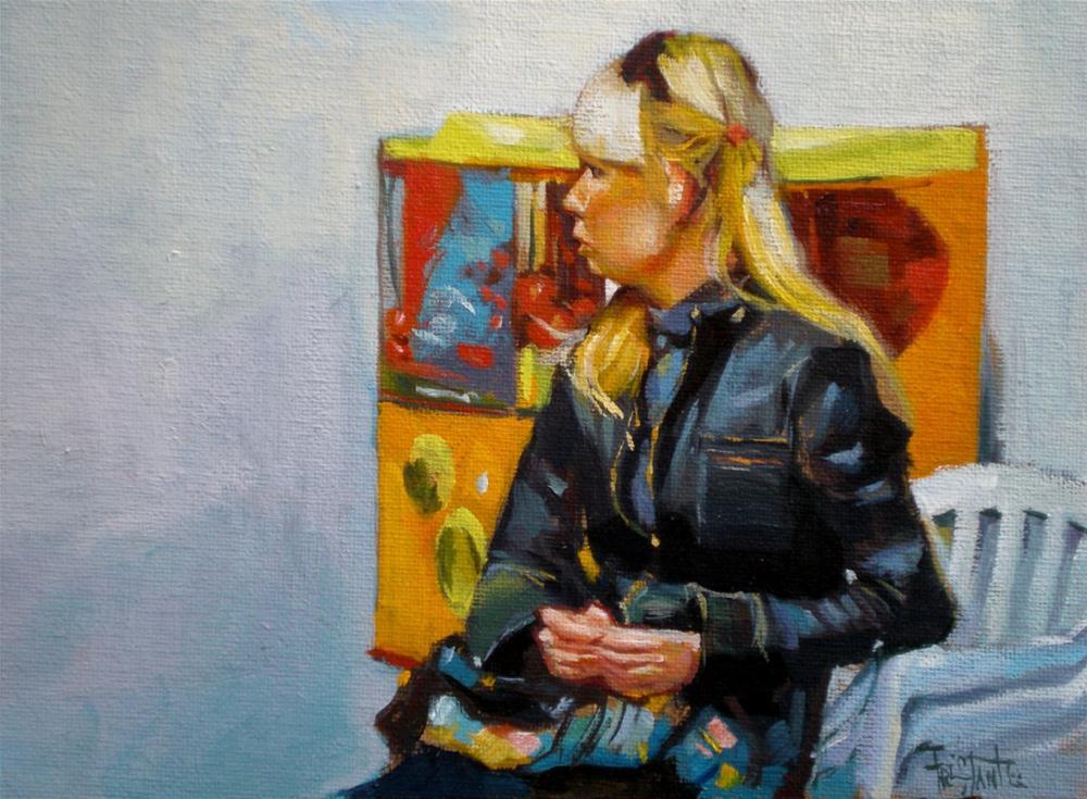 """Vending machine girl"" original fine art by Víctor Tristante"