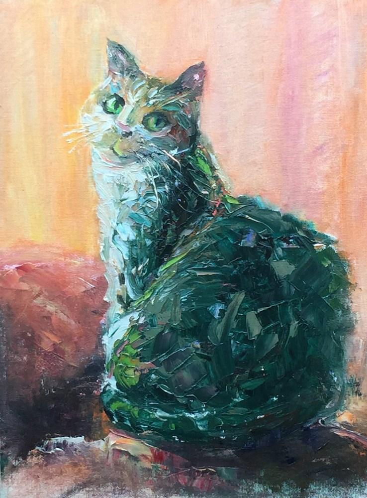 """""""Green Cat"""" original fine art by Mary Schiros"""