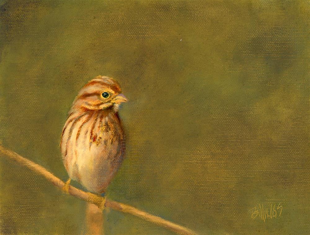 """""""Sparrow on Branch II"""" original fine art by Susanne Billings"""
