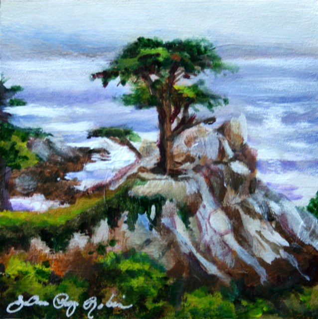 """Rock and Tree"" original fine art by JoAnne Perez Robinson"