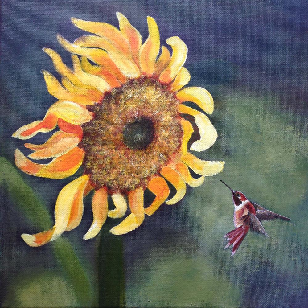 """""""Sunflower Visit"""" original fine art by Michelle Wolfe"""
