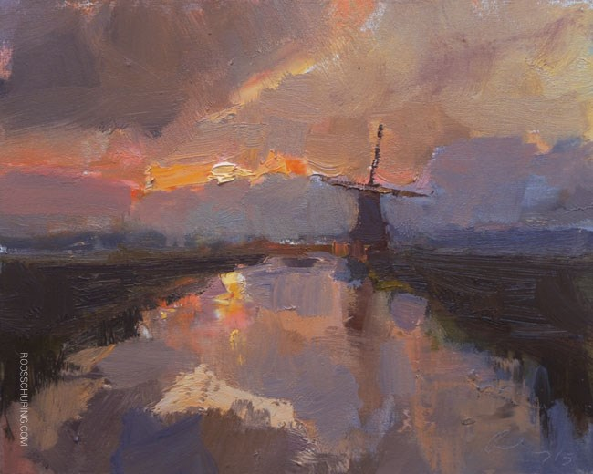 """""""Windmill in Early Morning"""" original fine art by Roos Schuring"""