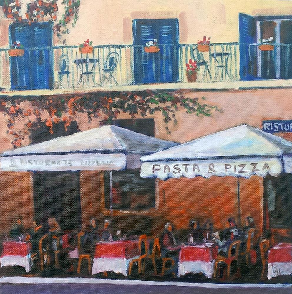 """DCS#31 Pasta & Pizza (from Roman vacation)"" original fine art by Olga Touboltseva-Lefort"