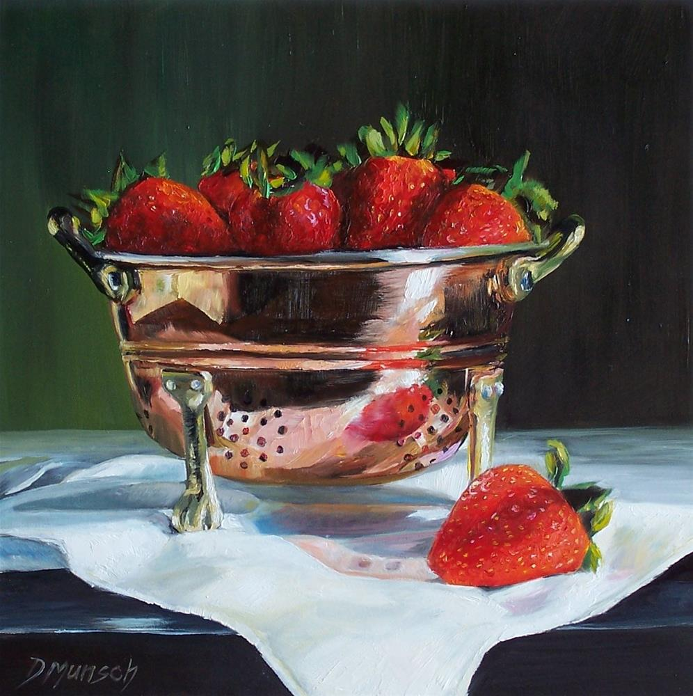 """""""Strawberry Copper Colander"""" original fine art by Donna Munsch"""