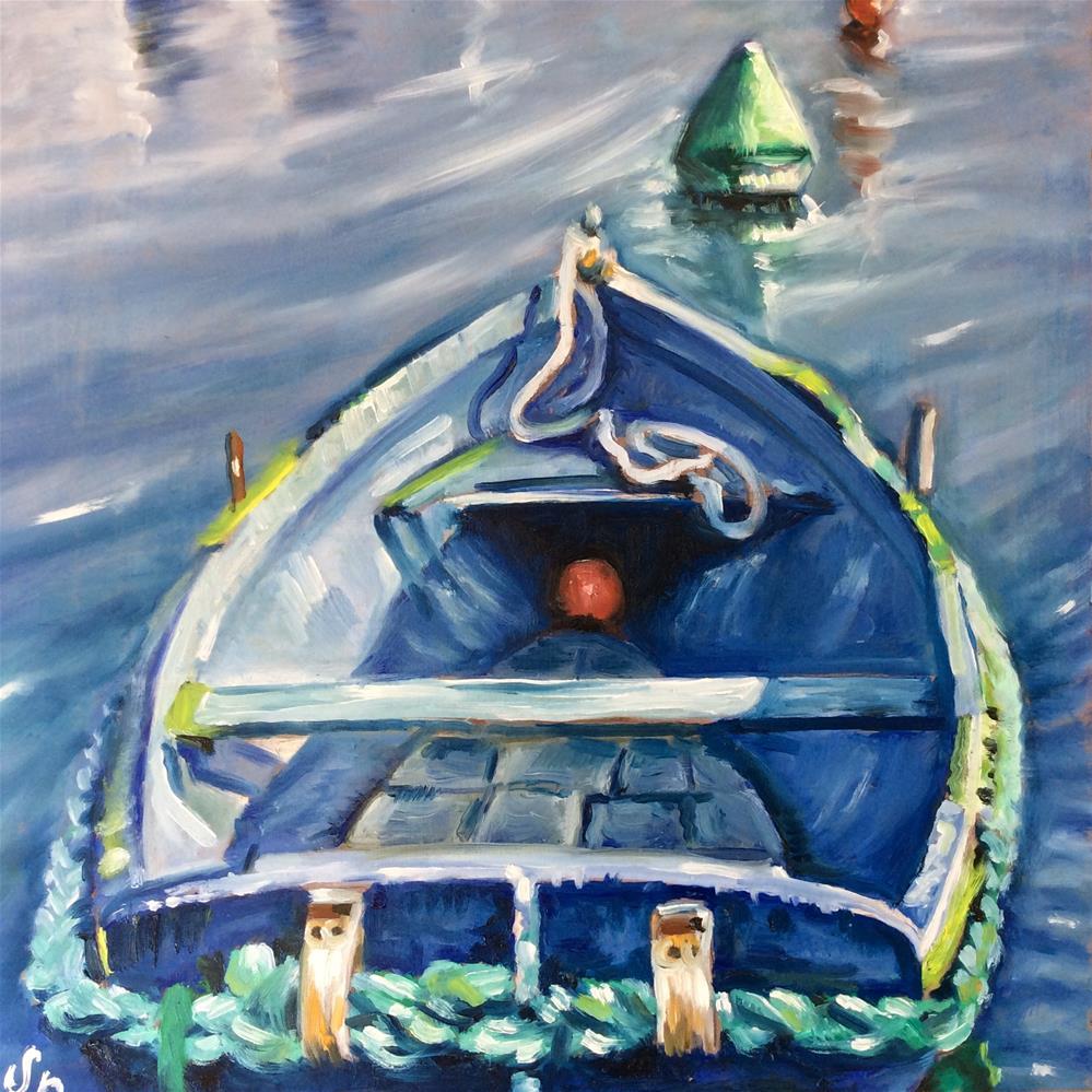 """Blue boat"" original fine art by Sonja Neumann"