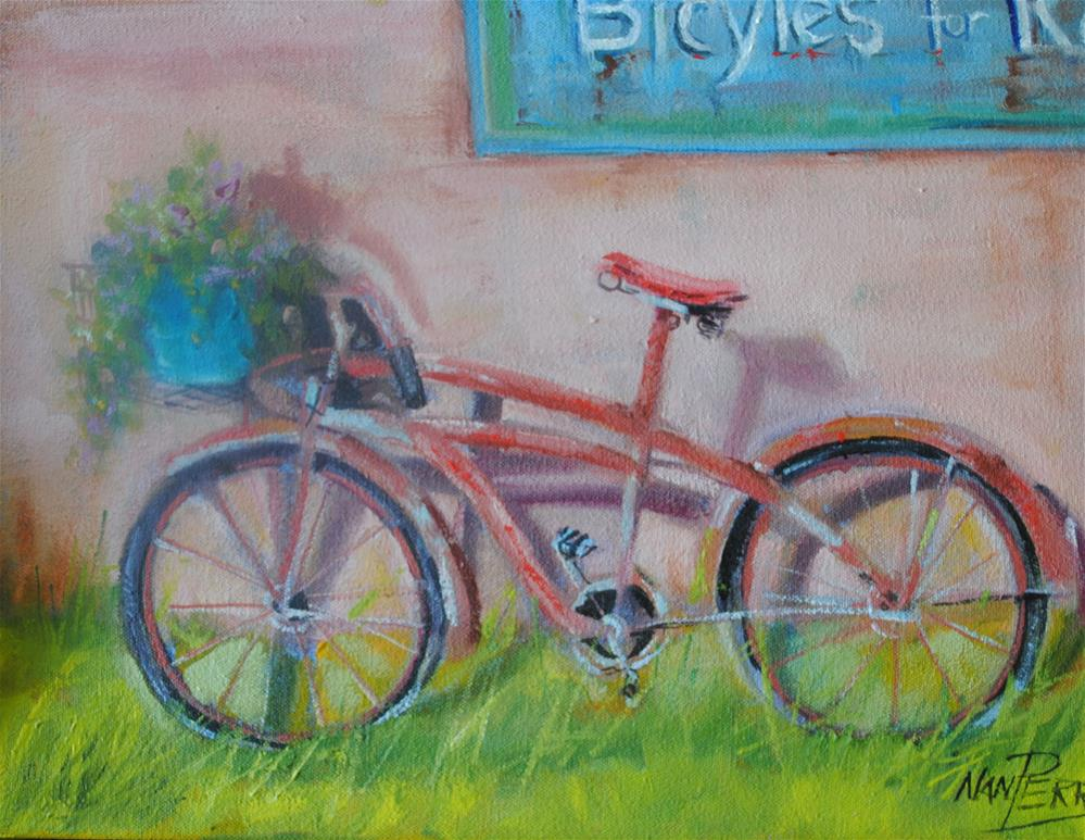 """""""Bikes for Rent"""" original fine art by Nan Perry"""