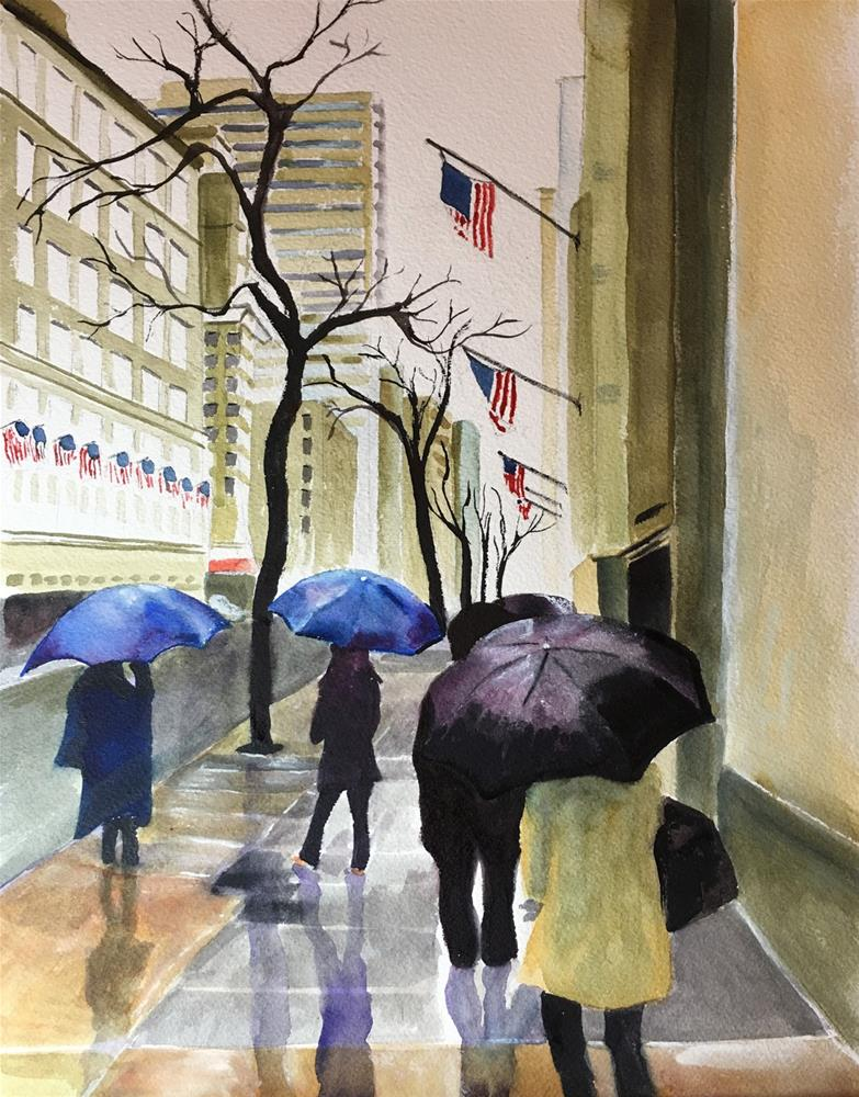 """""""Rainy Day in NYC"""" original fine art by Bunny Griffeth"""