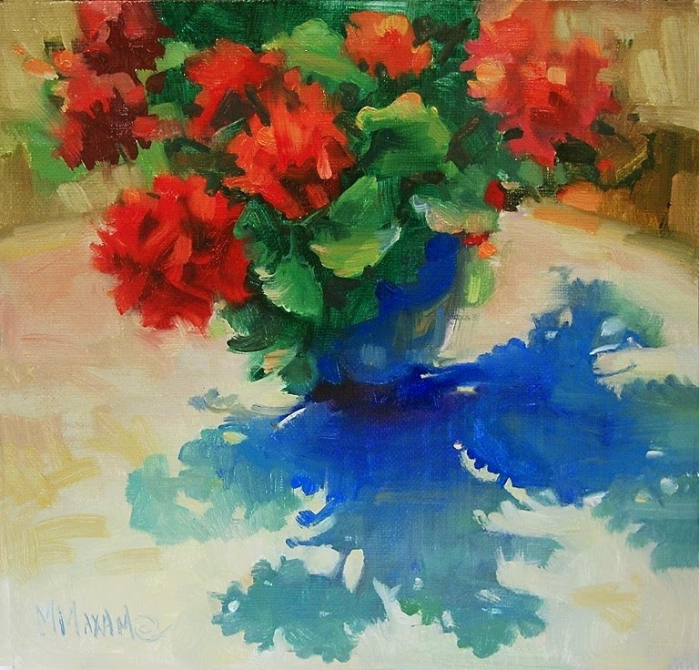 """Geranium Shadows"" original fine art by Mary Maxam"