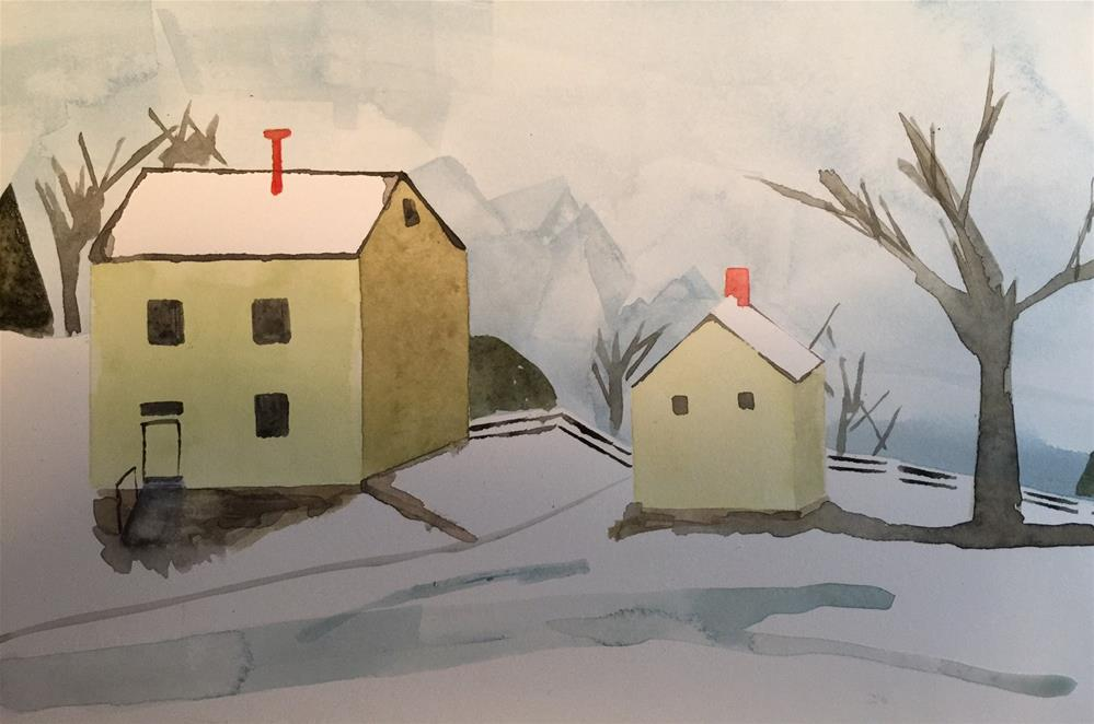 """145 Winter Scene"" original fine art by Jenny Doh"