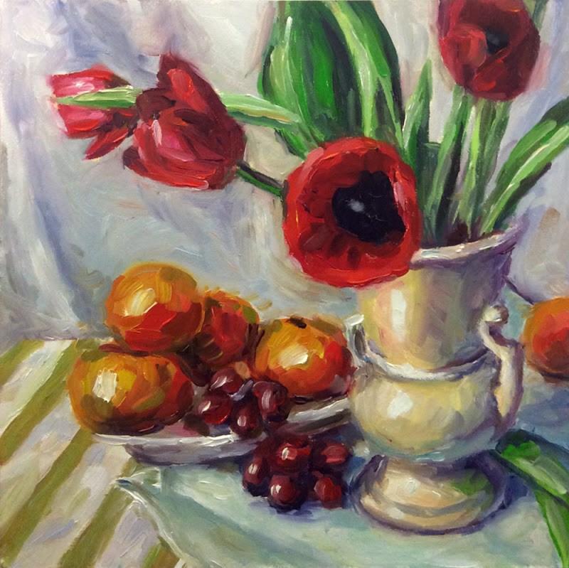 """Fruit & Flowers"" original fine art by Kerry Forsythe"