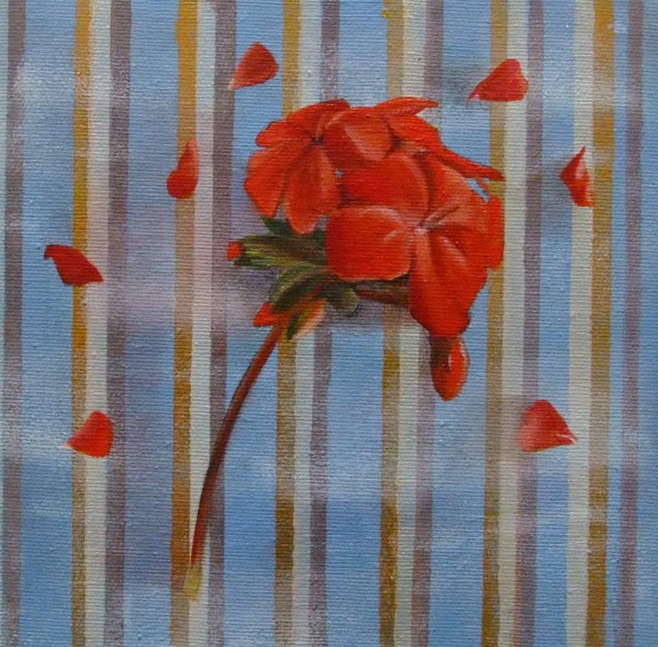 """""""Geranium and Stripes"""" original fine art by Cathy Holtom"""
