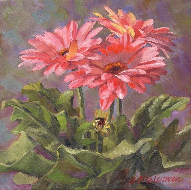 """Gerbera Quartet"" original fine art by Connie McLennan"