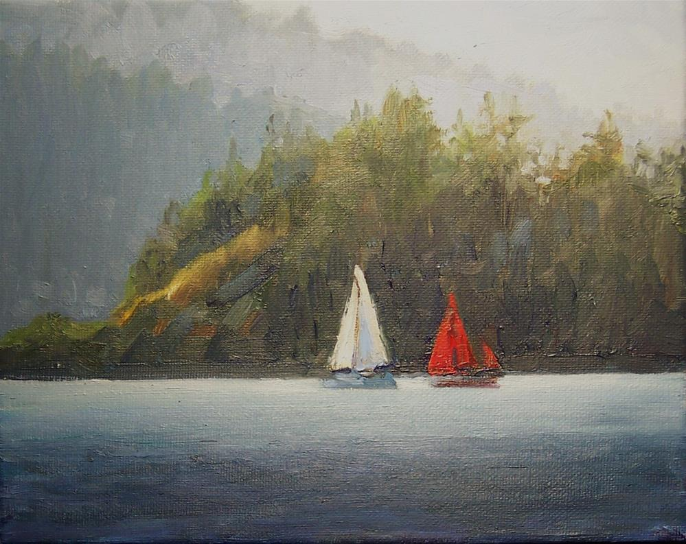 """Sail Boats off the Islands,seascape,oil on canvas,8x10,priceNFS"" original fine art by Joy Olney"