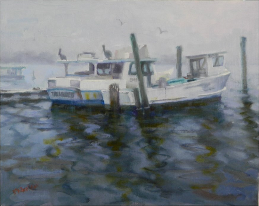 """Grey Morning, Cortez fishing village, 11x14, oil on panel, paintings of boats, fog, old fishing bo"" original fine art by Maryanne Jacobsen"