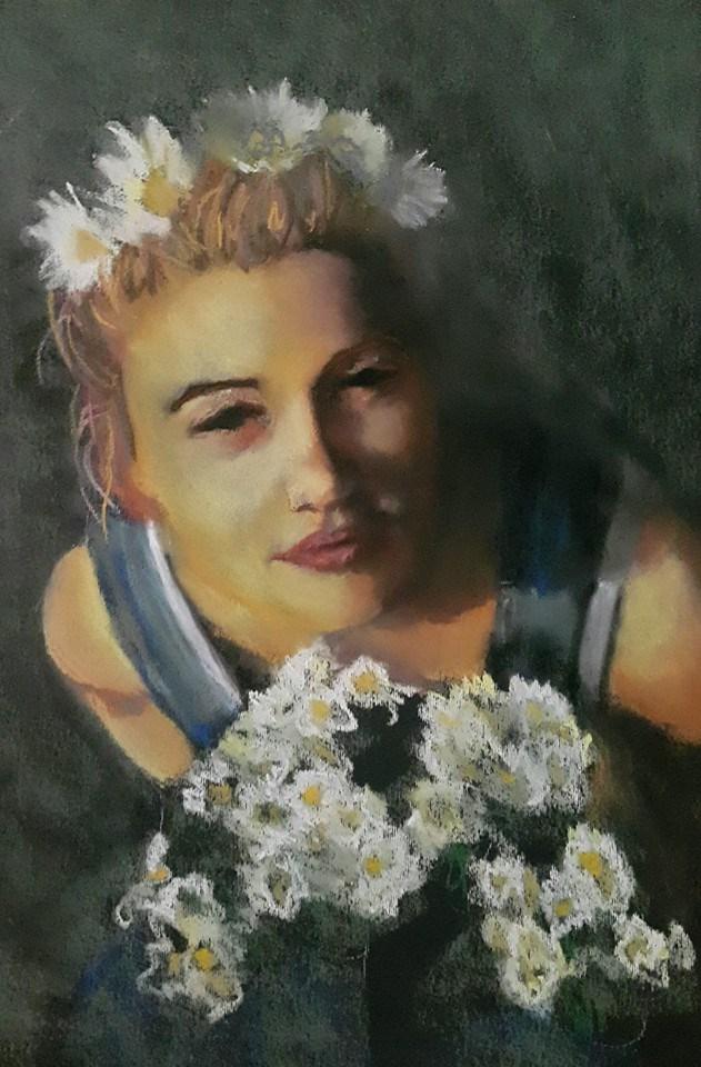 """Daisy girl"" original fine art by Rentia Coetzee"