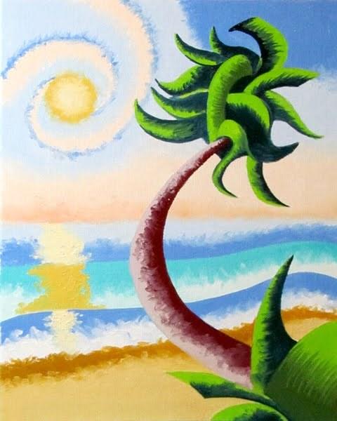 """Mark Webster - Abstract Geometric Palm Tree Ocean Landscape Oil Painting"" original fine art by Mark Webster"