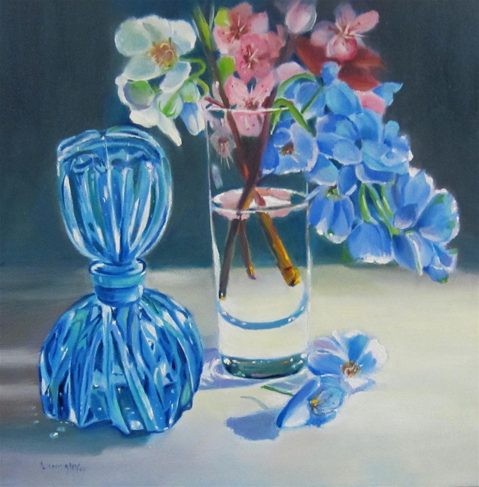 """""""Moody Blues, Oil Painting by Linda McCoy"""" original fine art by Linda McCoy"""