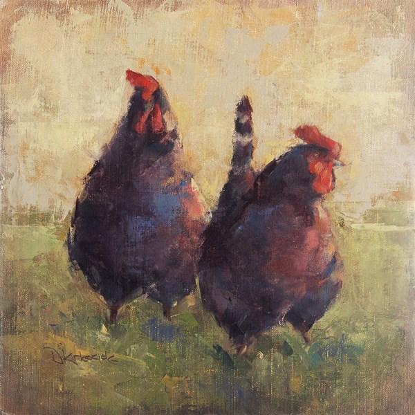 """Out For A Stroll - Original chicken oil painting by Deb Kirkeeide"" original fine art by Deb Kirkeeide"