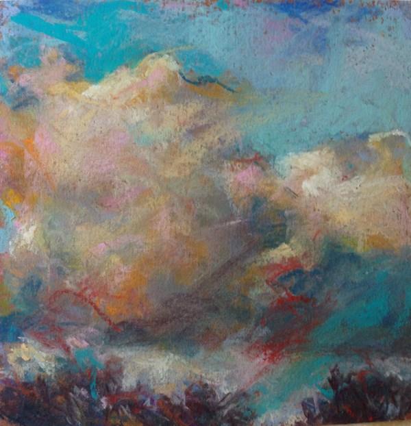 """""""A SPOT OF RED - 6 x 6 sky pastel by Susan Roden"""" original fine art by Susan Roden"""