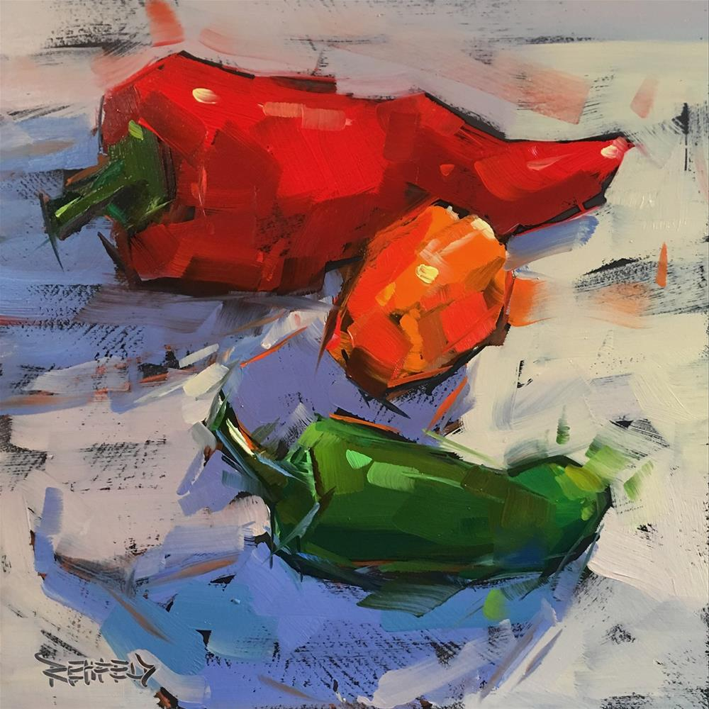 """Which Pepper Is Hottest?"" original fine art by Cathleen Rehfeld"