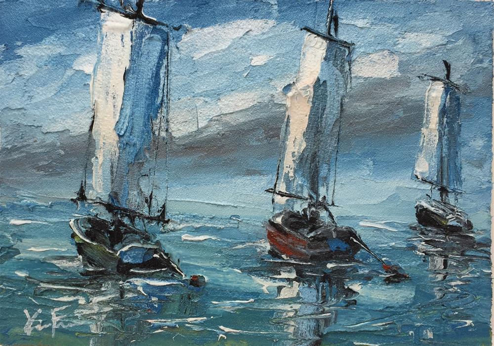 """Asian Sails"" original fine art by Ken Fraser"