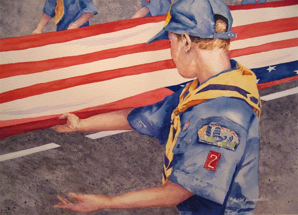 """""""Memorial Day Parade, framed"""" original fine art by Judith Freeman Clark"""