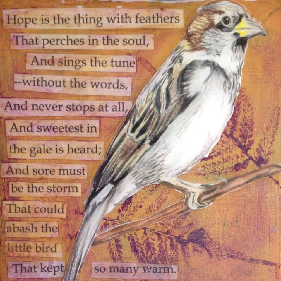 """The Poetry of Birds: Emily Dickinson"" original fine art by Lisa Wiertel"
