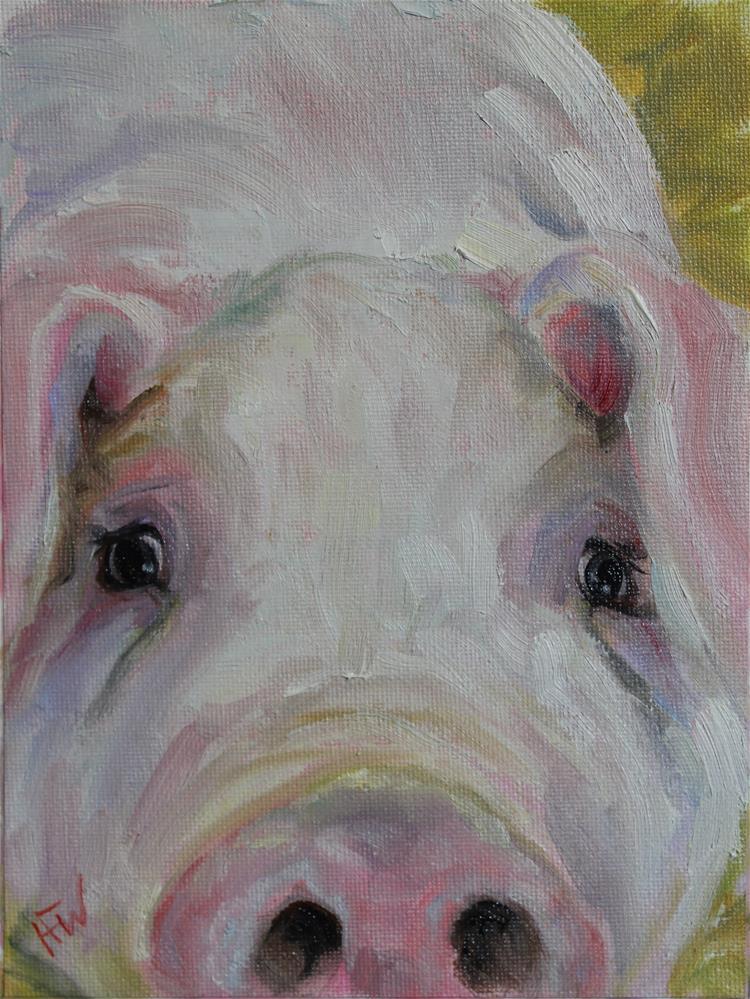 """Nosy Pig"" original fine art by H.F. Wallen"