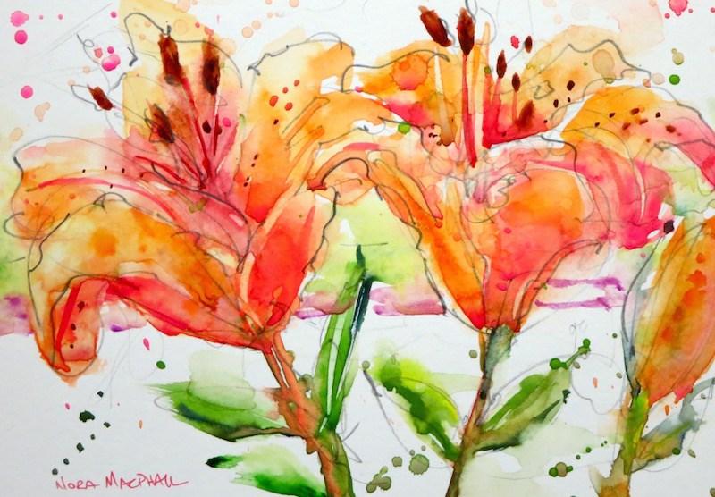 """Red Prairie Lillies"" original fine art by Nora MacPhail"