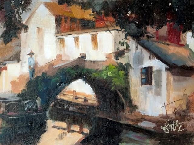 """Summer morning in Zouzhaung"" original fine art by Beth Bathe"