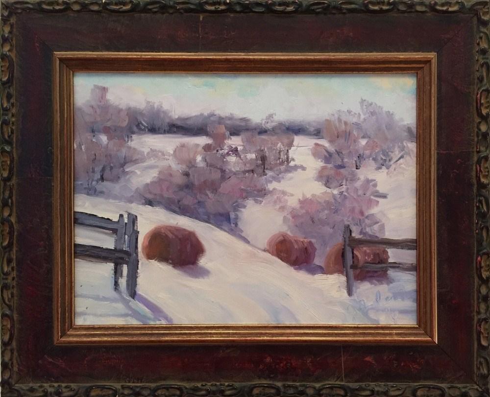 """""""Hay Bales"""" original fine art by Judith Anderson"""