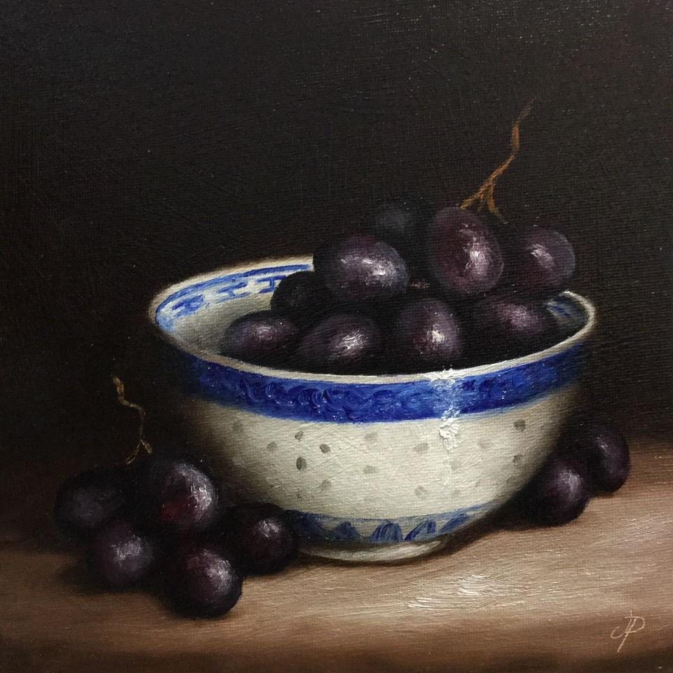 """bowl of grapes"" original fine art by Jane Palmer"