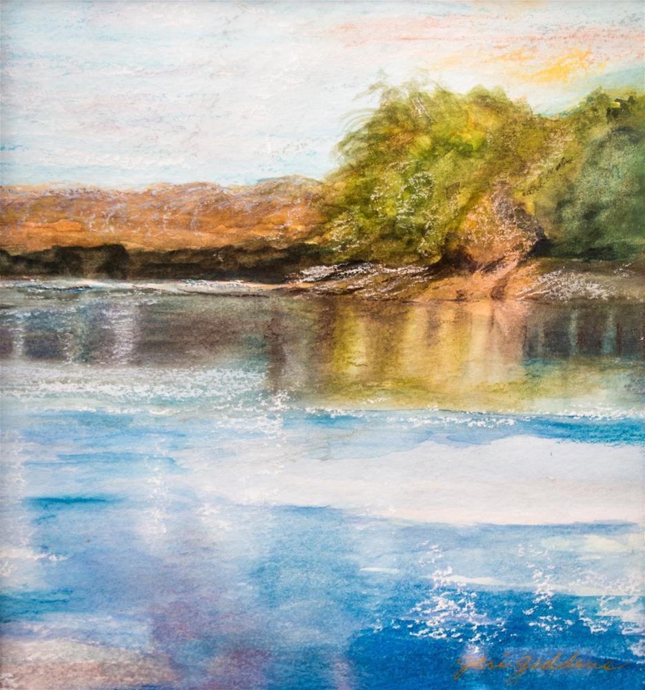 """""""Des Moines River Watercolor Pastel"""" original fine art by Jeri Giddens"""