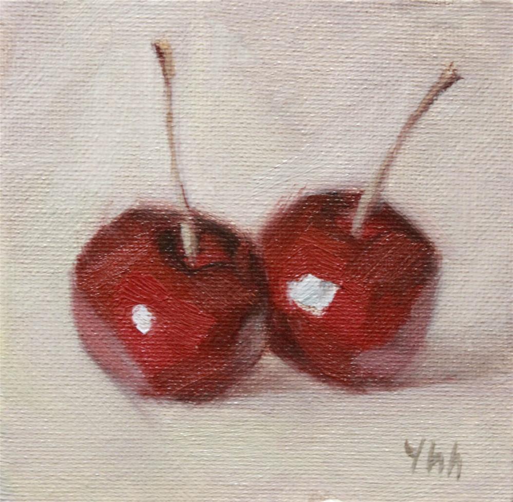 """cherries"" original fine art by Yuehua He"