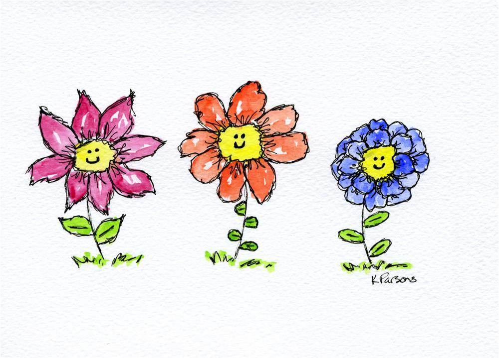 """Happy Trio"" original fine art by Kali Parsons"
