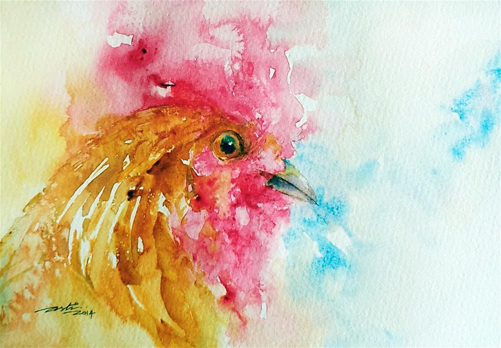 """""""Golden Rooster Portrait"""" original fine art by Arti Chauhan"""