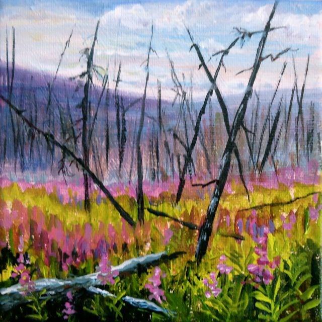 """Yukon Fireweed Series No. 1"" original fine art by Jackie Irvine"