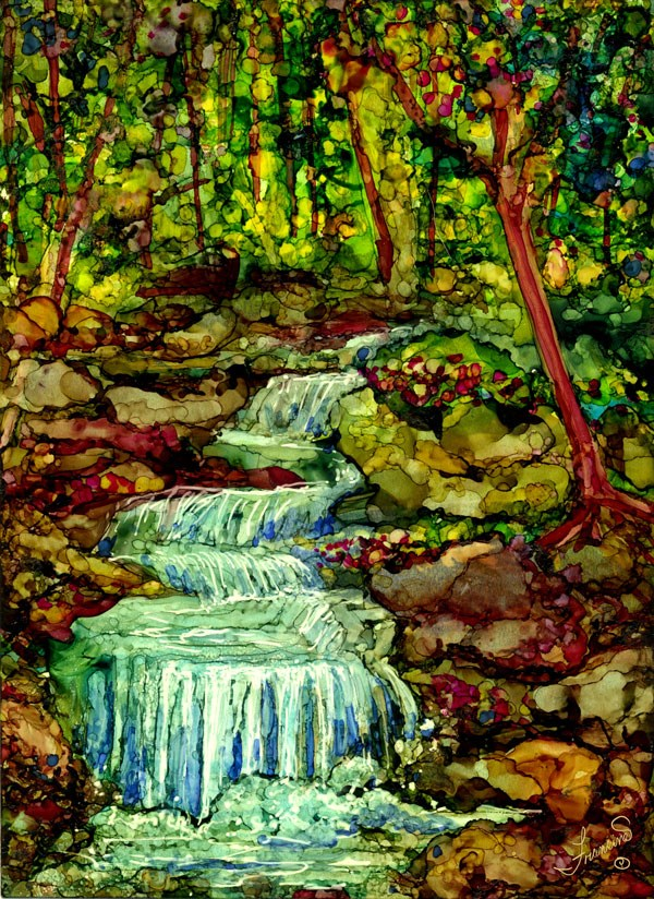 """The Waterfall"" original fine art by Francine Dufour~Jones"