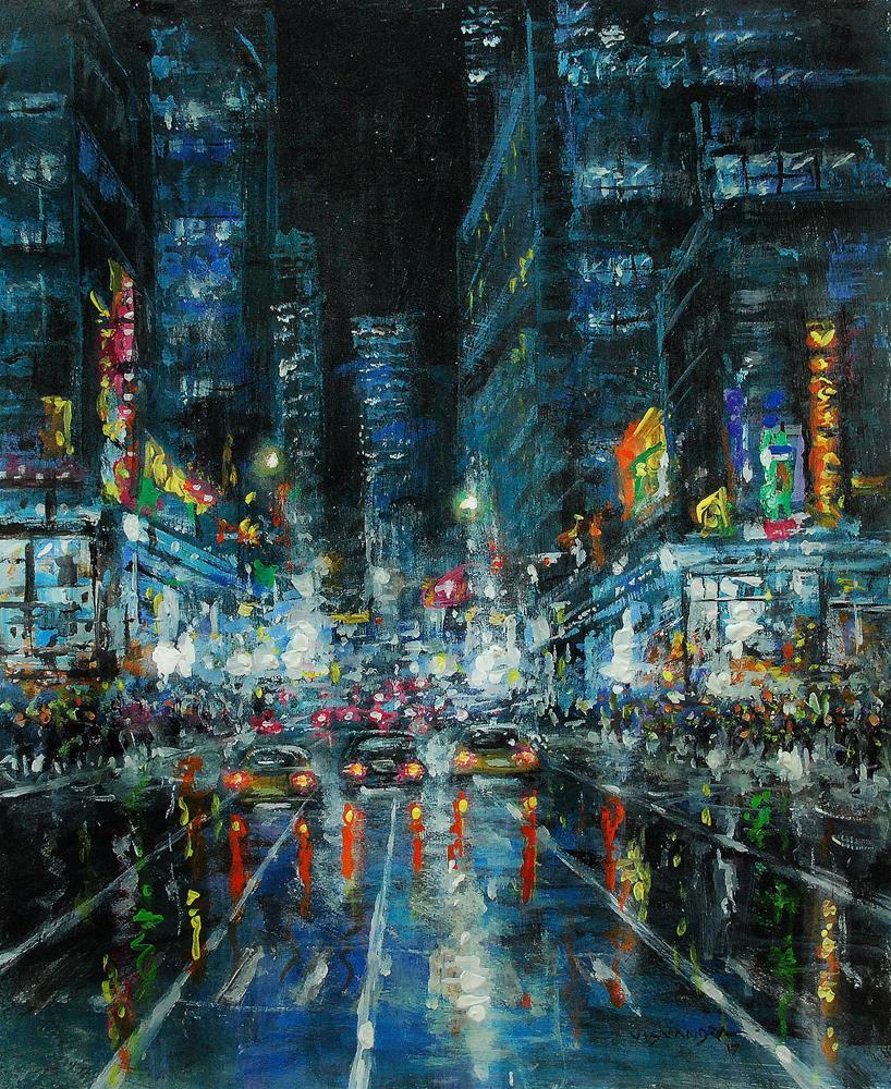 """New York in night11"" original fine art by vishalandra dakur"
