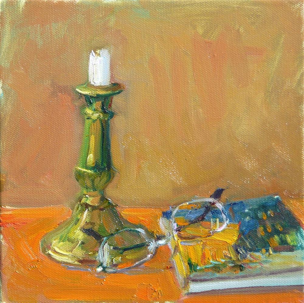"""Brass Candlestick,still life,oil painting,8x8,price$200"" original fine art by Joy Olney"