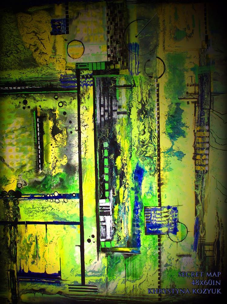 """Secret Map,original large abstract painting on canvas"" original fine art by Khrystyna Kozyuk"