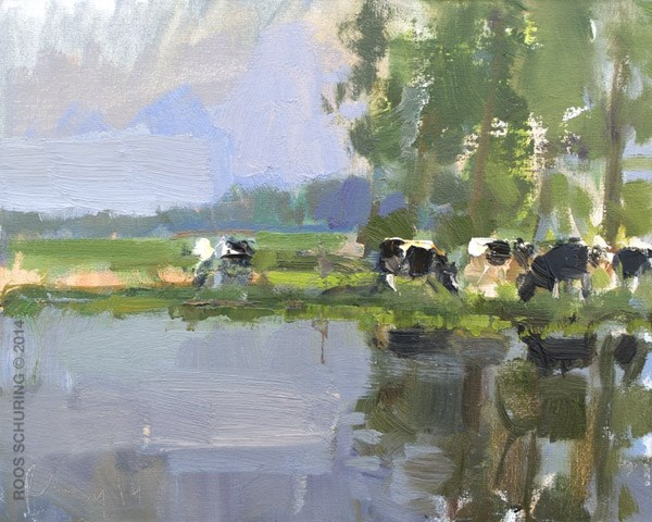 """Let's go out and Find (us) some Cows"" original fine art by Roos Schuring"