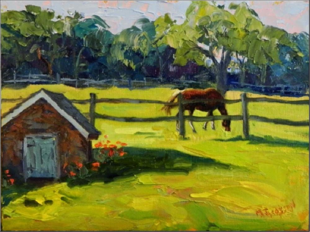 """""""Morning Pasture, Misty Hollow Farm, 9x12, horse, paintings of horses, Springhouse, meadow, Chester"""" original fine art by Maryanne Jacobsen"""