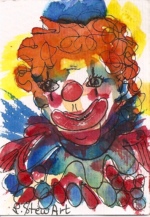"""ACEO:  Just Clownin' Around, a colorful watercolor and pen Clown Face"" original fine art by Penny Lee StewArt"
