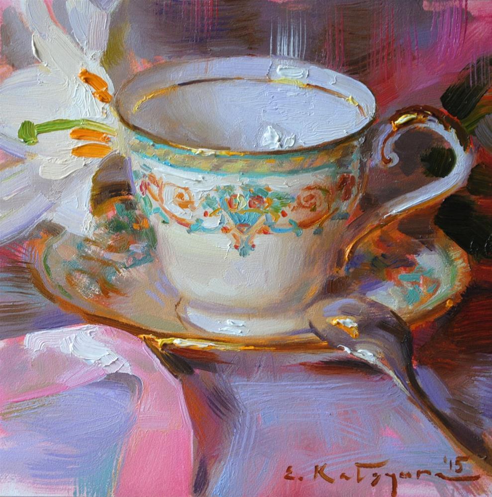 """Teacup and White Lily"" original fine art by Elena Katsyura"