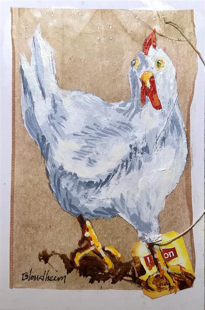 """Tea Bag Painting Hen"" original fine art by Linda Blondheim"